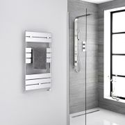 Milano Lustro Electric - Chrome Flat Panel Designer Heated Towel Rail - 840mm x 450mm