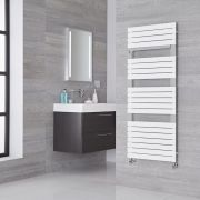 Lazzarini Way Torino - Mineral White Designer Heated Towel Rail - 1360mm x 550mm
