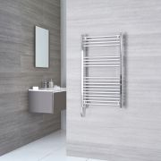 Kudox Ladder Electric - Chrome Flat Thermostatic Heated Towel Rail - 1000mm x 500mm