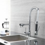 Milano - Modern Deck Mounted Pull Out Kitchen Mixer Spray Tap - Chrome