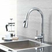 Milano - Modern Deck Mounted Pull Out Kitchen Mixer Tap - Chrome
