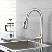 Milano - Modern Deck Mounted Pull Out Kitchen Mixer Tap - Brushed Nickel