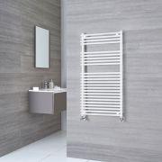 Kudox Harrogate - White Flat Bar on Bar Heated Towel Rail - 1150mm x 450mm