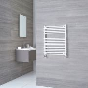 Kudox Harrogate - White Flat Bar on Bar Heated Towel Rail - 750mm x 600mm