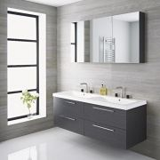Milano Linley - 1400mm Double Vanity Unit - Grey
