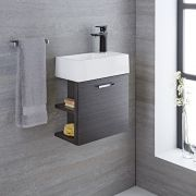 Milano Linley - Grey Modern 400mm Cloakroom Wall Hung Vanity Unit with Basin (1 Tap-Hole)