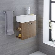 Milano Linley - Oak Modern 400mm Cloakroom Wall Hung Vanity Unit with Basin (1 Tap-Hole)