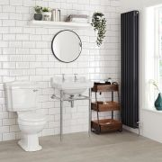 Milano Carlton - White Traditional Square Basin and Washstand - 560mm x 450mm (2 Tap-Holes)