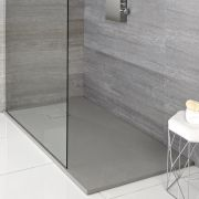 Milano Light Grey Slate Effect Rectangular Shower Tray 1400x800mm