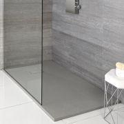 Milano Light Grey Slate Effect Rectangular Shower Tray 1400x900mm
