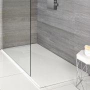 Milano Matt White Slate Effect Rectangular Shower Tray 1000x800mm