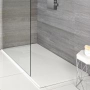 Milano Matt White Slate Effect Rectangular Shower Tray 900x800mm
