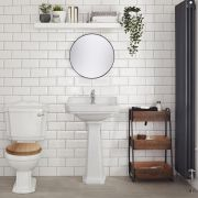Milano Ryther - White Traditional Close Coupled Toilet with Cistern and Wooden Seat
