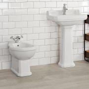 Milano Carlton - White Traditional Floor Standing Bidet - 405mm x 390mm