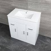Milano Ren - White 800mm Minimalist Floor Standing Vanity Unit with Basin