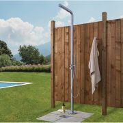 Milano Lugo - Modern Outdoor Shower with Hand Shower - Brushed Steel