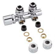 "Milano - Chrome 3/4"" Male Thread H-Block Angled Valve Chrome Handwheel - 14mm Copper Adapters"