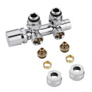 "Milano - Chrome 3/4"" Male Thread H-Block Angled Valve Chrome Handwheel - 14mm Multi Adapters"