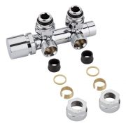 "Milano - Chrome 3/4"" Male Thread H-Block Angled Valve Chrome Handwheel - 16mm Copper Adapters"