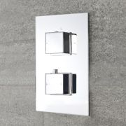 Milano Arvo - Modern 2 Outlet Square Twin Diverter Thermostatic Shower Valve - Chrome
