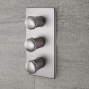 Milano Ashurst - Modern 3 Outlet Triple Diverter Thermostatic Shower Valve - Brushed Nickel