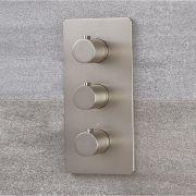 Milano Hunston - Modern Thermostatic Triple Diverter Shower Valve - Three Outlets - Brushed Nickel