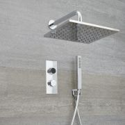 Milano Vis - Modern 2 Outlet Shower with Digital Thermostatic Valve, Hand Shower and Square Wall Mounted Shower Head - Chrome