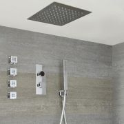 Milano Vis Three Outlet Digital Thermostatic Shower, 280mm Square Recessed Shower Head, Handset and Body Jets