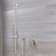 Milano Ashurst - Modern Manual Shower Valve with Round Slide Rail Kit - Brushed Nickel