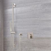 Milano Hunston - Manual Shower Valve with Slide Rail Kit and Square Handset - Brushed Nickel