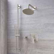 Milano Ashurst - Modern Manual Diverter Shower Valve, Round Head and Slide Rail Kit - Brushed Nickel