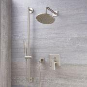 Milano Ashurst - Manual Diverter Shower Valve, Round Head and Slide Rail Kit - Brushed Nickel