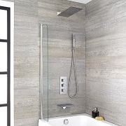 Milano Blade - Modern Waterfall Bath Filler With Square Triple Diverter, Thermostatic Shower Valve & Head