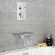 Milano Wall Mounted Waterfall Bath Filler & Round Concealed Thermostatic Shower Valve