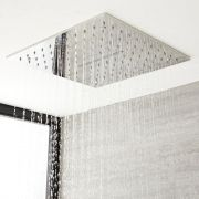 Milano Arvo - Modern 400mm Square Ceiling Mounted Recessed Shower Head with Water Blade - Polished Chrome