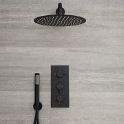 Milano Nero - Modern Black Triple Thermostatic Shower Valve with 300mm Round Head and Hand Shower - Black