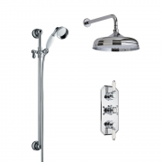 Milano Elizabeth - Traditional Triple Thermostatic Valve with Wall Arm and Slide Rail Kit - Chrome
