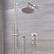 Milano Ashurst - Modern Triple Thermostatic Shower Valve, 200mm Round Head and Slide Rail Kit - Brushed Nickel