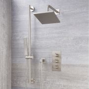 Milano Hunston - Modern Triple Thermostatic Valve, 200mm Square Head and Slide Rail Kit - Brushed Nickel