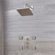Milano Hunston - Triple Thermostatic Shower Valve, 200mm Square Head and Body Jets - Brushed Nickel