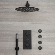 Milano Nero - Triple Thermostatic Diverter Shower Valve with 300mm Round Head, Hand Shower and Body Jets - Black