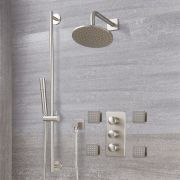 Milano Ashurst - Modern Triple Diverter Thermostatic Valve, 200mm Round Head, Slide Rail Kit and Body Jets - Brushed Nickel