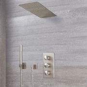 Milano Ashurst - Modern Triple Diverter Thermostatic Valve, Waterblade Head and Round Handset - Brushed Nickel