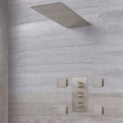 Milano Hunston - Modern Triple Diverter Thermostatic Valve, Waterblade Head and Body Jets - Brushed Nickel