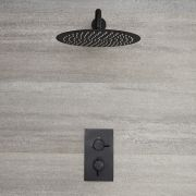 Milano Nero - Modern Twin Thermostatic Shower Valve with 300mm Round Head and Arm - Black