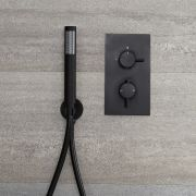 Milano Nero - Twin Thermostatic Shower Valve with Hand Shower - Black
