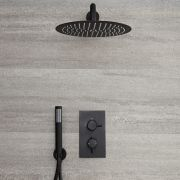 Milano Nero - Twin Thermostatic Diverter Shower Valve with 300mm Round Head and Hand Shower - Black