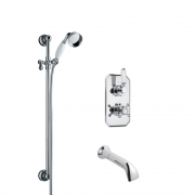 Milano Elizabeth - Traditional Twin Diverter Thermostatic Valve with Bath Spout and Slide Rail Kit including Hand Shower - Chrome and White
