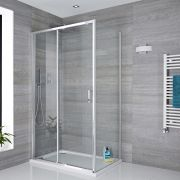 Milano Portland Complete Sliding Shower Door Enclosure With Tray, Waste & End Panel 1200 x 900mm