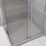 Milano Light Grey Slate Effect Square Shower Tray 800mm